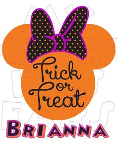 Printable DIY Trick or Treat Minnie Mouse digital clip art, iron on transfer for t-shirts by My Heart Has Ears: