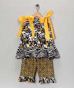 Black & Gold Tunic & Capri Pants - Infant, Toddler & Girls