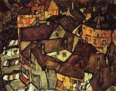 Krumau Town Crescent I, 1915 - Egon Schiele