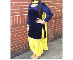 Blue yellow velvet salwar suit