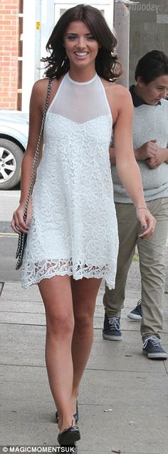 Celeb Style: Lucy Mecklenburgh wears a white lace dress. Shop White Heat at Fuse Fashion Network.