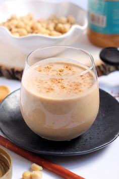 A deliciously creamy smoothie made with chickpeas that tastes just like a snickerdoodle cookie! Sip on this healthy high-protein Snickerdoodle Chickpea Smoothie for a balanced breakfast or post-workout treat.