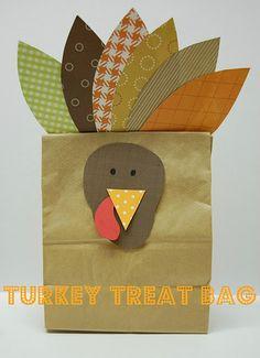 Fun crafted turkey treat bag by @whateverdeedee. Super cute!