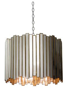 "Grayson Chandelier - Reclaimed Non-Antiqued Mirror w/Brass Detail; Includes Canopy & 3-Foot Chain *Four Bulbs Not to Exceed 60W Oly studio 22""Diameter x 15.75""H"