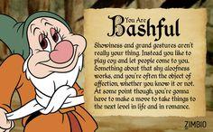 I took Zimbio& Seven Dwarfs quiz and I& Bashful! Princess Quizzes, Goofy Disney, Disney Stuff, Walt Disney, Snow White Seven Dwarfs, Snow White Disney, I Love Snow, First Animation, Fun Quizzes