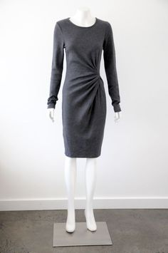 Witchery  Women s Grey Fitted Long Sleeve Cotton Blend Dress {Size S / 10}