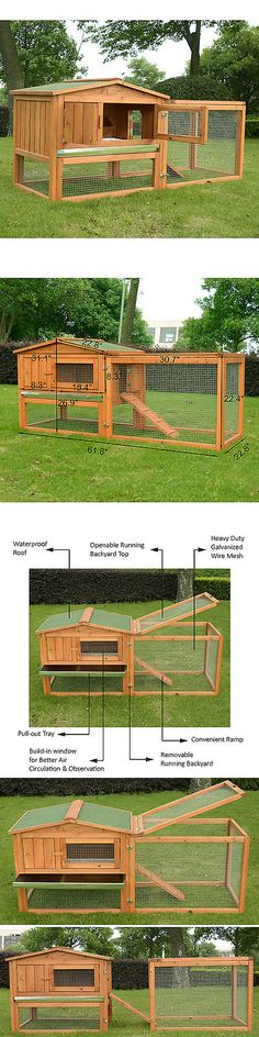 Cages and Enclosure 63108: Pawhut Wooden Small Animal House Rabbit Hutch Bunny Cage W/ Backyard Run Ramp BUY IT NOW ONLY: $119.99