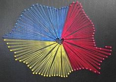 Romania is in the euphoria stage because receives little amount of tourists during the year and the romanian peolpes are happy to welcome tourists and visitors seek to merge with the local comunity. String Crafts, Paper Crafts, Romanian Flag, Romania Map, Cuadros Diy, Shrink Art, String Art Patterns, 1 Decembrie, Map Art