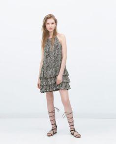PRINTED DRESS WITH FRILLS   Zara