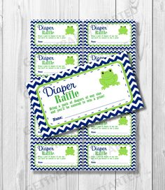 DIAPER RAFFLE TICKETS - Printable Baby Shower Raffle Tickets - Frog Baby Shower - Instant Download - Navy and Green Frog Shower Games