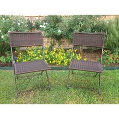 International Caravan Resin Wicker Outdoor Folding Chairs (Set of 2) | Overstock.com Shopping - Big Discounts on International Caravan Dinin...