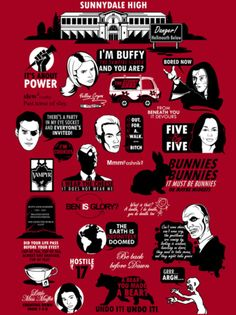 tomtrager:  25 Buffy quotes on one monstrous shirt. Grrr…Argh… Available as a shirt at: http://www.redbubble.com/people/tomtrager/t-shirts/7456699-buffy-the-vampire-slayer-quote-shirt