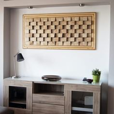 Buy wall art decor made of wood. Original, handmade, eco-friendly wall art and sound diffuser art panel made in Greece. Diy Living Room Decor, Living Room Mirrors, Living Room Art, Panel Wall Art, Hanging Wall Art, Wood Wall Art, Acoustic Wall Panels, 3d Wall Decor, Leather Wall