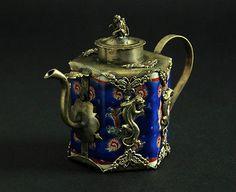 JY: Antique Chinese Tibet Silver Blue Porcelain Inlay Leopard Monkey Lid Teapot   eBay.com