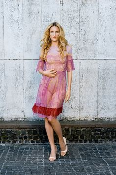 MFD French lace and silk tulle cocktail dress.