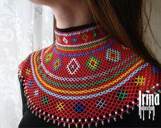 Traditional Ukrainian Gerdan to vyshyvanka Ukrainian jewelry Ukrainian necklace Seed bead necklace White beaded necklace Tribal jewelry Boho Ceramic Necklace, Seed Bead Necklace, Beaded Earrings, Earrings Handmade, Seed Beads, Tribal Jewelry, Boho Jewelry, Beaded Jewelry, Tribal Necklace