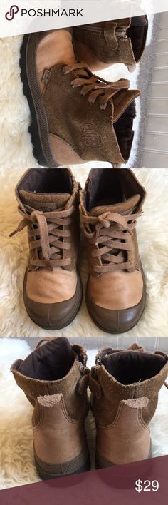 Palladium tan leather boots Classic Palladium boots in excellent condition. Leather and suede, zip up, no tie. Palladium Shoes Boots