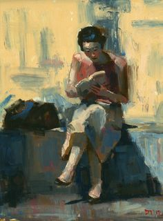 """Reader #8 (2012). Darren Thompson. Oil.  """"I paint the environment that I live in.""""  """"My art has its center of gravity in what is not actually visible. Like the feeling of 'tension in a room between two people,' the tension is the dominating subject but not at all literally visible.""""  Darren Thompson paints in oil on linen or panel, usually working from a combination of photographs assembled together. #EasyNip"""