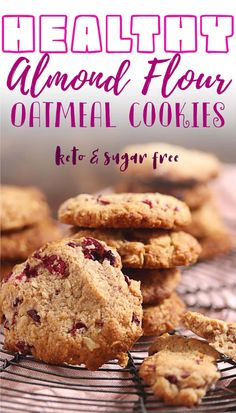 These keto oatmeal cookies are just the thing for those who love a sugar-free, gluten-free dessert! The recipe uses almond flour and cranberries which not only make them taste delicious but they give these low carb snacks some added health benefits too. Get ready to drool over this simple cookie dough that's loaded with flavor! Made without oats but with almond slices and coconut flakes to keep it low carb, it's one of the best low carb cookie you'll ever make! Low Carb Desserts, Cookie Desserts, Gluten Free Desserts, Cookie Recipes, Dessert Recipes, Gf Recipes, Low Carb Recipes, Best Oatmeal Cookies, Keto Oatmeal