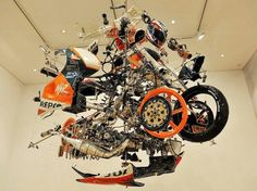 Exploded view of Honda MotoGP bike