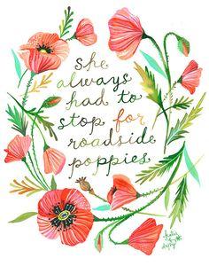 Langs de weg Poppies art print | Botanische aquarel schilderij | Bloemen krans | Aquarel offerte | Katie Daisy | 8 x 10 | 11 x 14