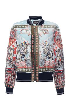 Day Dream Printed Silk Bomber Jacket by ROBERTO CAVALLI for Preorder on Moda Operandi
