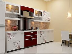 Acrylic Floral modular Kitchen from nano Kitchen and Interiors :Ph:9349101300