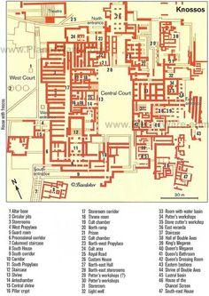 A - Plan of Knossos Palace - Crete In Ancient Times, Ancient Art, Ancient History, Santorini, Knossos Palace, Minoan Art, Mycenaean, Greek History, Art History