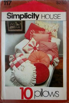 Simplicity 117 Home Decor Pillow Sewing Pattern for 10 Different Decorative Pillows.
