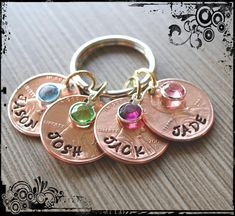 Custom Mother Penny Keychain stamped penny by KaryKreations