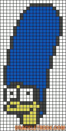 Free Marge Simpson Hama Perler Bead Pattern or Cross Stitch Chart Easy Perler Bead Patterns, Pony Bead Patterns, Beading Patterns, Cross Stitch Patterns, Kawaii Cross Stitch, Futurama, Pixel Drawing, Pixel Art Templates, Stitch Cartoon