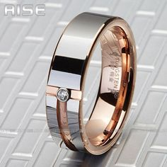 New Gift Men Women Tungsten Carbide Rose Gold Plate C Z Ring Wedding Band A72 | eBay