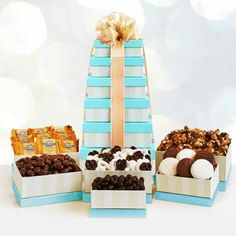 Chocolate Snack Gift Tower. See more gifts at www.pro-gift-baskets.com!