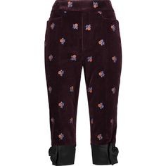 Maison Margiela Cropped embroidered velvet straight-leg pants (580 CAD) ❤ liked on Polyvore featuring pants, capris, burgundy, cropped pants, velvet trousers, velvet pants, cropped trousers and straight leg pants