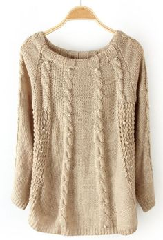 Khaki Scoop Neck Pearls Embellished Cable Knit Sweater