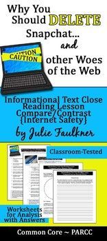 Do your students know what their digital footprint looks like? This is a very intriguing lesson on Internet Safety to compare and contrast info text articles. Close Reading Lessons, Speech And Debate, Digital Footprint, Do It Yourself Fashion, Internet Safety, Digital Literacy, Middle School English, Compare And Contrast, School Lessons