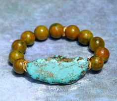 Turquoise Nugget Beaded Bracelet by BeadRustic