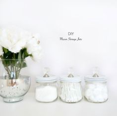 DIY Storage Ideas - DIY Mason Storage Jars  - Home Decor and Organizing Projects for The Bedroom, Bathroom, Living Room, Panty and Storage Projects - Tutorials and Step by Step Instructions  for Do It Yourself Organization http://diyjoy.com/diy-storage-ideas-organization