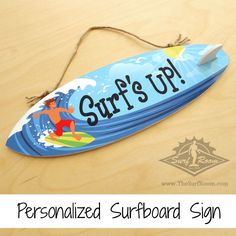 Surfer dude surfboard surfer sign is a awesome way to personalize your kids surf room, beach themed bedroom or nursery. Add a wave of color to your surf decor with this colorful custom made surfboard surfer sign that is personalized with your child's name. Our personalized surfboard signs come with a surfboard fin to give it that authentic surfboard look....