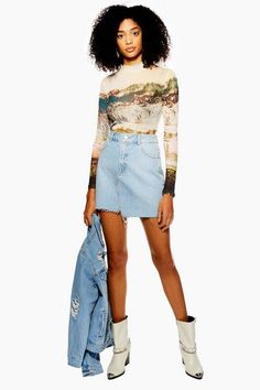 Create a modern style with this asymmetric denim mini skirt. Why not embrace double denim this season to make the ultimate statement? Black Skirt Outfits, Maxi Skirt Outfits, Denim Dresses, Denim Outfits, Camo Denim Jacket, Denim Jackets, Denim Overalls, Shorts, Denim Mini Skirt