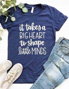 It Takes a Big Heart to Shape Little Minds Shirt / Teacher Shirt / Counselor Shirt / Educator Shirt / School Shirt - Teacher Shirts - Ideas of Teacher Shirts - School Shirts, Work Shirts, Cute Shirts, Kids Shirts, Preschool Teacher Shirts, Teaching Shirts, Teacher T Shirts, Shirts For Teachers, Teacher Outfits