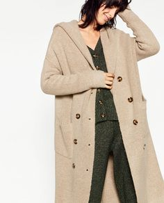 Image 2 of LONG JACKET WITH HOOD from Zara