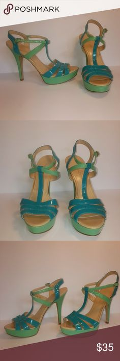 Enzo Angiolini Blue Green High Heels 8M These heels are beautiful and in excellent condition. They have a buckle at the ankle to secure them.  Enzo Angiolini Shoes Heels