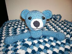 http://stores.ebay.com/Patty-Craft-and-Hobby-Pages A special Baby Afghan with a Blue Teddy Bear attached.