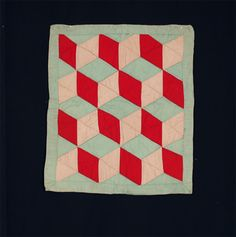 Tumbling Blocks Doll Quilt   c.1940