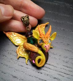 Cute Green Butterfly  Dragon Pendant by AstridMakosla.deviantart.com on @deviantART