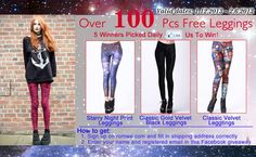 Over 100 pics FREE leggings, 5 winners picked daily    Valid dates: 1.12.2013 - 2.6.2013  The giveaway is only valid on our Streetbelle facebook page!  http://www.facebook.com/pages/Romwe-High-Street-Fashion/430590370345649?sk=app_200328890006489     All you have to do:  1. Like us on our Streetbelle facebook:  http://www.facebook.com/pages/Romwe-High-Street-Fashion/430590370345649  2. Leave the registered ROMWE account on this Facebook giveaway page