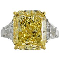 Pre-owned 10 Carat Fancy Intense Yellow Diamond Gold Three Stone... ($375,000) ❤ liked on Polyvore featuring jewelry, rings, three-stone rings, 3 stone diamond ring, yellow diamond engagement rings, yellow engagement rings, fancy yellow diamond ring and 18k ring