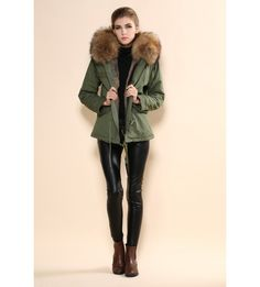 Khaki Parka with Natural Fox Fur