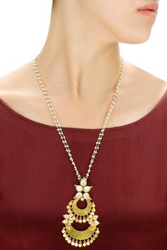 Gold plated stone detailing half moon pendant available only at Pernia's Pop-Up Shop.